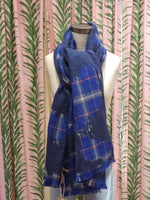 Load image into Gallery viewer, Point Boucle Plaid Scarf in Blue