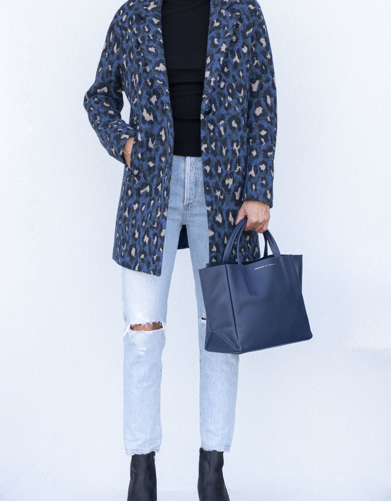 Alberta Coat in Blue Leopard