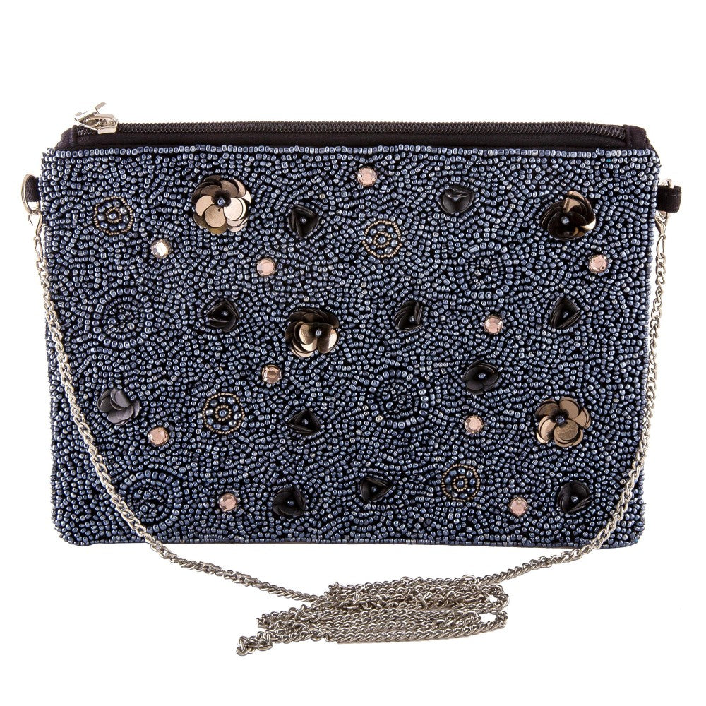 Beaded Floral Sequin Handbag in Hematite