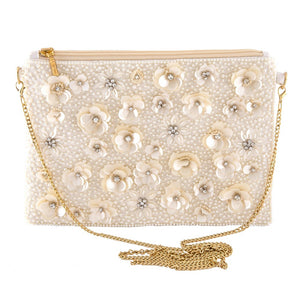 Beaded Pearl Floral Sequin Handbag in Ivory