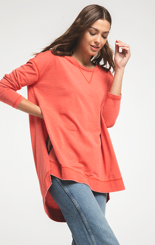 Weekender Tunic Sweatshirt in Cranberry