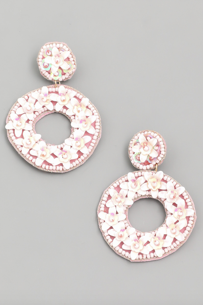 Circle Flower Beaded Drop Earrings in White