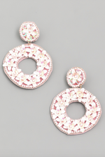 Load image into Gallery viewer, Circle Flower Beaded Drop Earrings in White