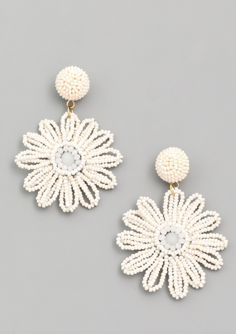 Beaded Daisy Earring in White