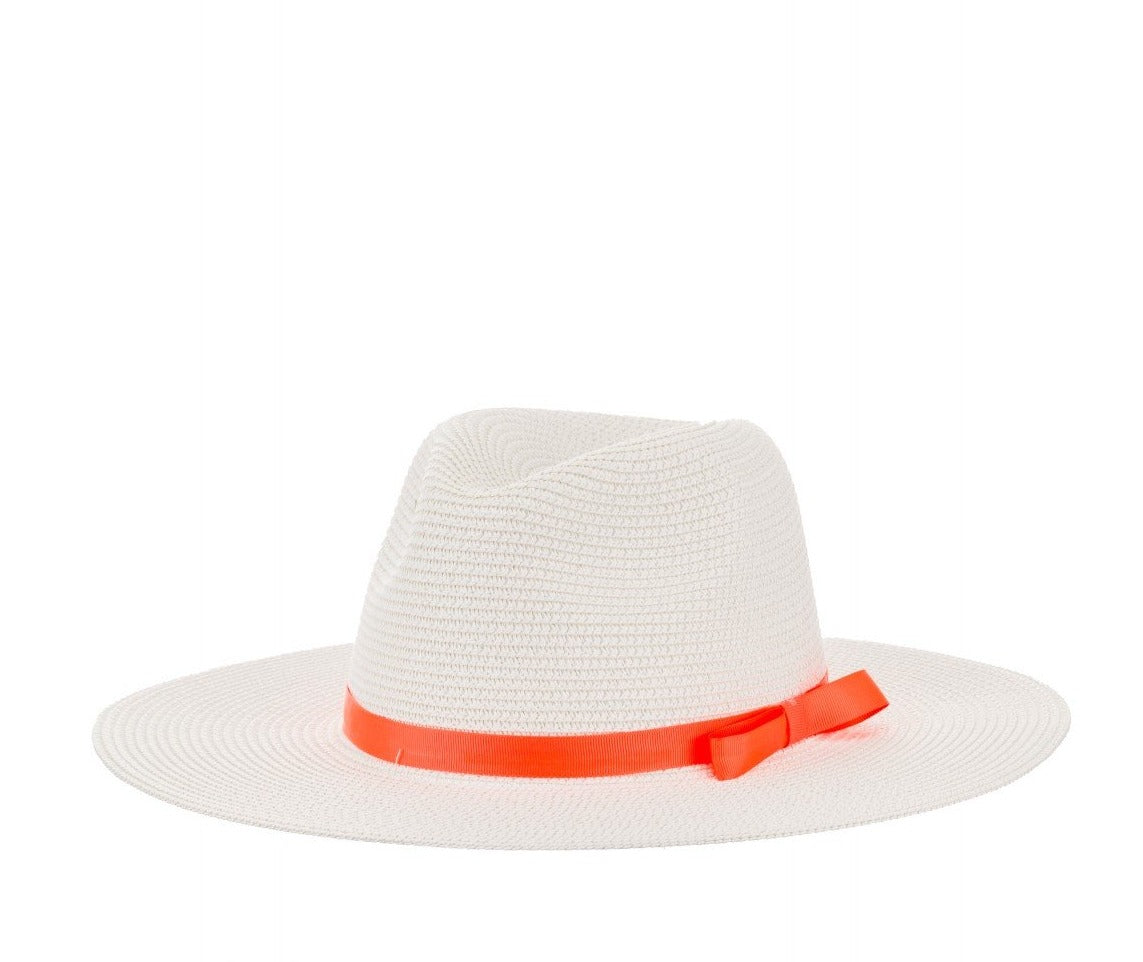 Straw Fedora With Ribbon Detail in White