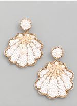 Load image into Gallery viewer, Sequin Seashell Earrings in White