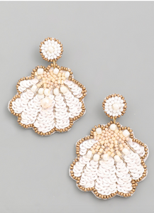 Sequin Seashell Earrings in White