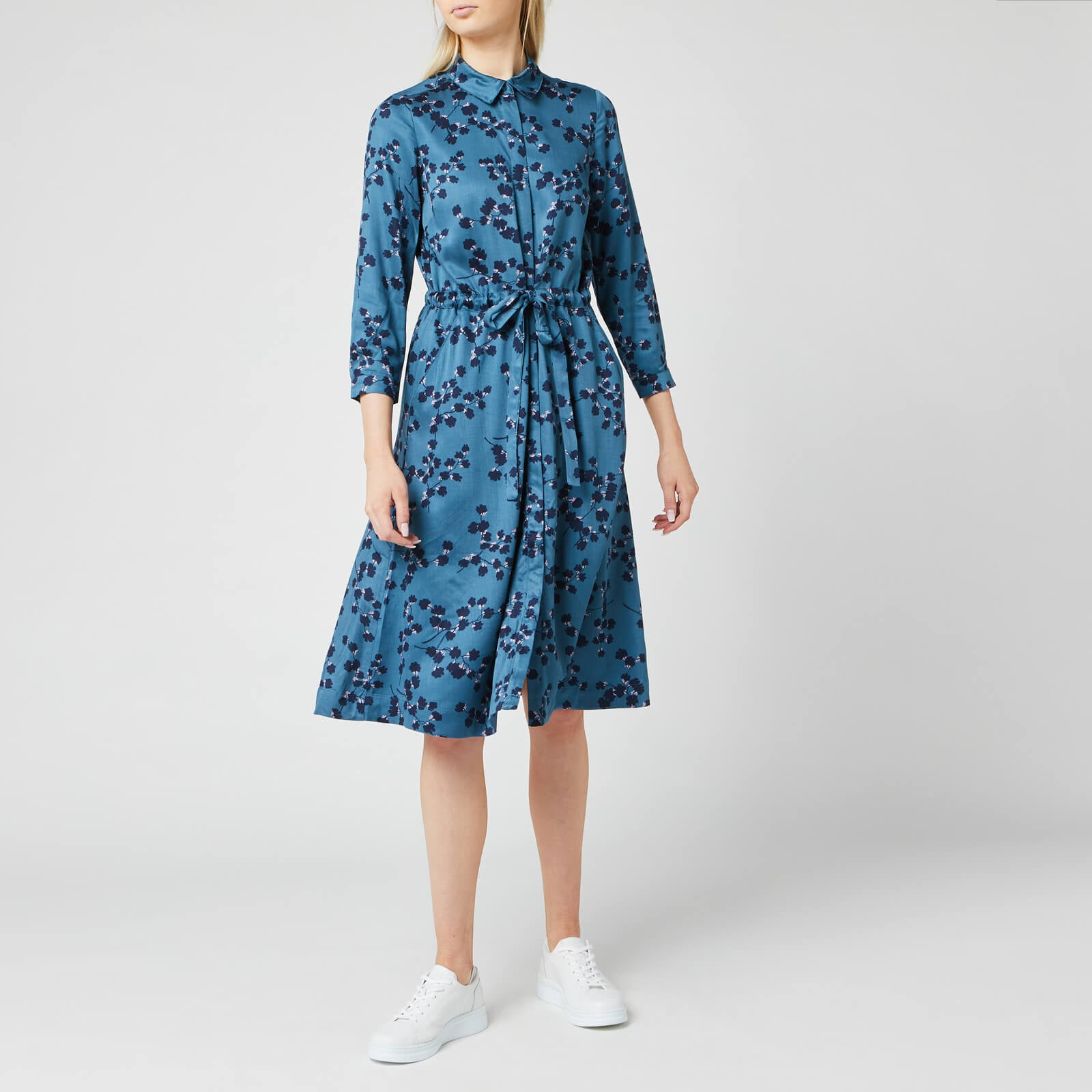 Long sleeve Shirt Dress in Teal Blossom