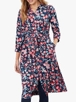 Load image into Gallery viewer, Winslet Long Sleeve Shirt Dress in Navy Floral