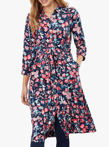 Winslet Long Sleeve Shirt Dress in Navy Floral