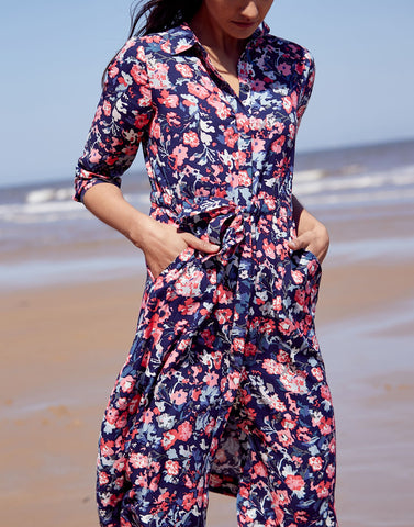 Long Sleeve Shirt Dress in Navy Floral