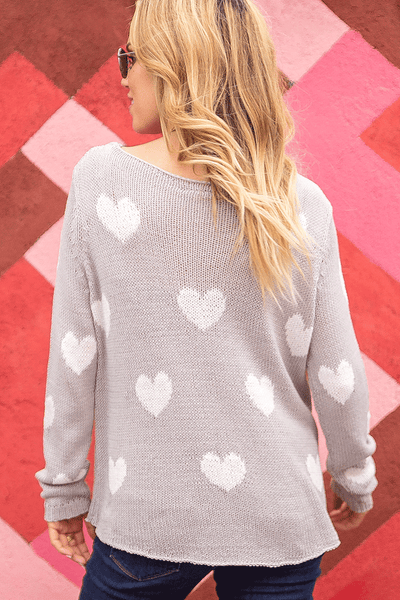 Loose Knit Heart Sweater