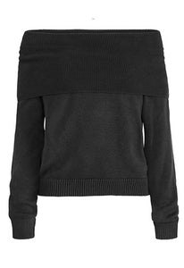 Fold over Cowl Neck Sweater in Black