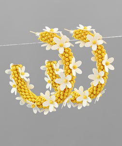 Beaded Flower Hoop Earring in Yellow/White