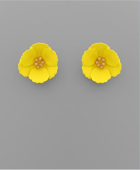 Small Flower Stud with Beaded Center in Yellow