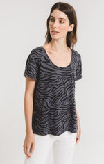 Load image into Gallery viewer, Zebra Print Tee in Charcoal Combo