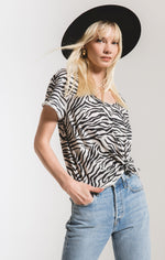 Load image into Gallery viewer, Zebra Print Tee in Ivory Combo