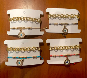 Evil Eye Gold Bracelet Duo