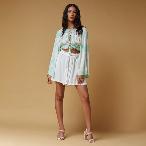 pleated shorts with tie waist