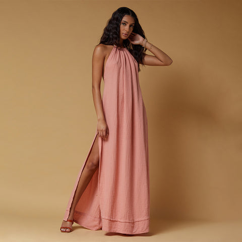 halter neck maxi dress with low back