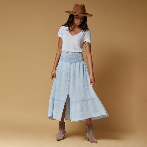 cotton midi skirt with front slit