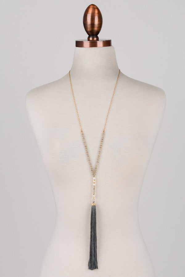 Dropped Pearl Accent Tassel Necklace (Two Colors)