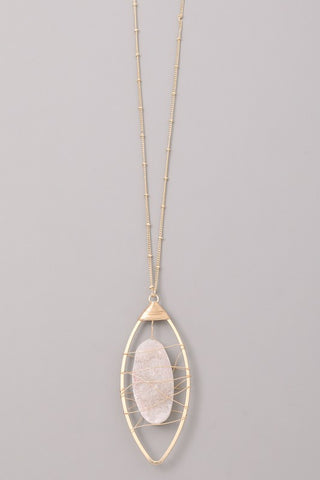 Wire Wrapped Druzy Necklace (Two Colors)