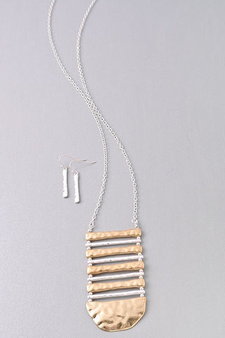Ladder Distressed Metallic Necklace/Earring Set