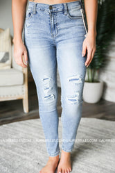 Grace and Lace Patched Distressed Jeggings