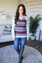 Shae Striped Raglan Top