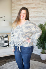 Curvy Jaelyn Camo Top