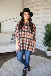 Still Fallin Plaid Poncho Top