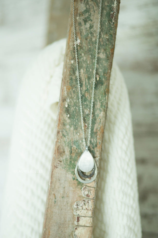 Solid Layered Teardrop Necklace