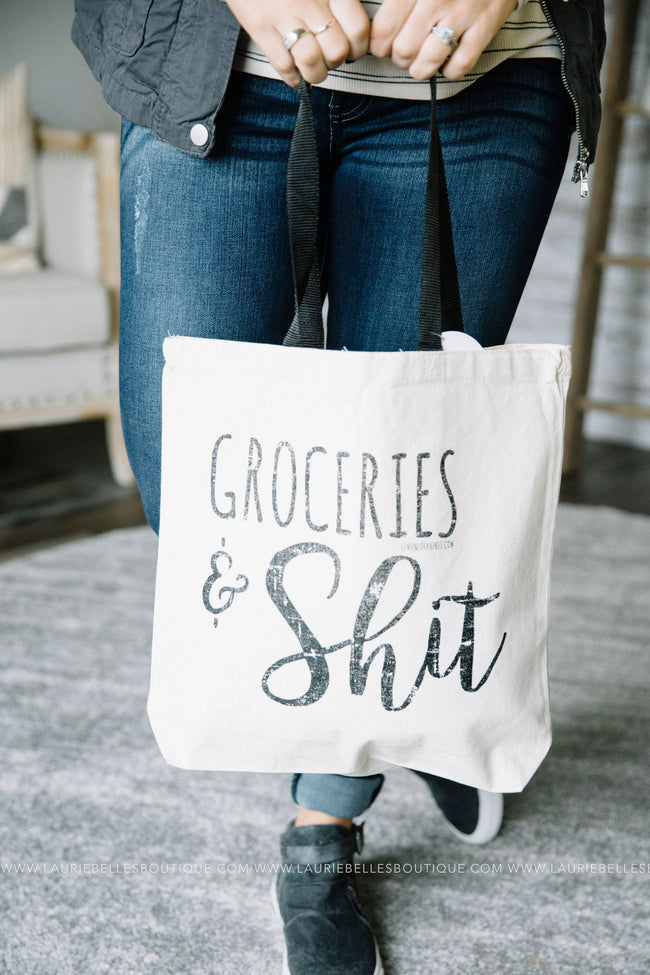 Groceries and S*** Canvas Tote
