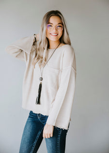 Rennley Frayed Pocket Sweater