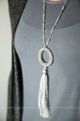 Beaded Hoop and Tassel Necklace Set