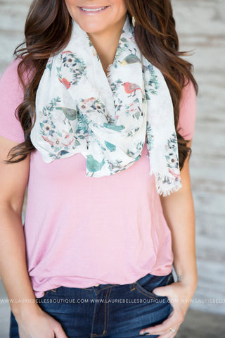 Floral & Bird Lightweight Scarf