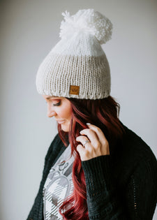 Cold + Cute Colorblock Pom Beanie