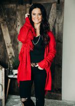 Red My Mind Fringe Cardigan