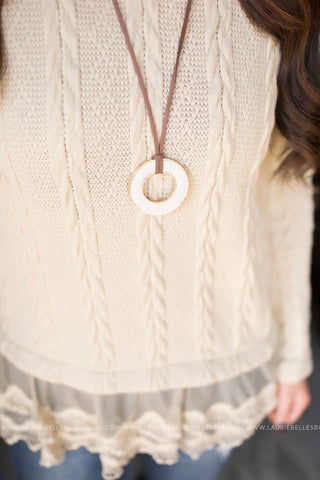 Leather Hoop Necklace