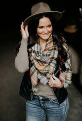 In A Flurry Plaid Blanket Scarf