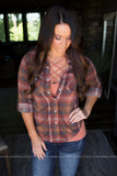 Rust and Ivory Plaid Top
