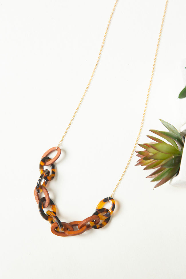 Acetate And Wood Chain Link Necklace