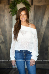 Eyes White Open Knit Sweater
