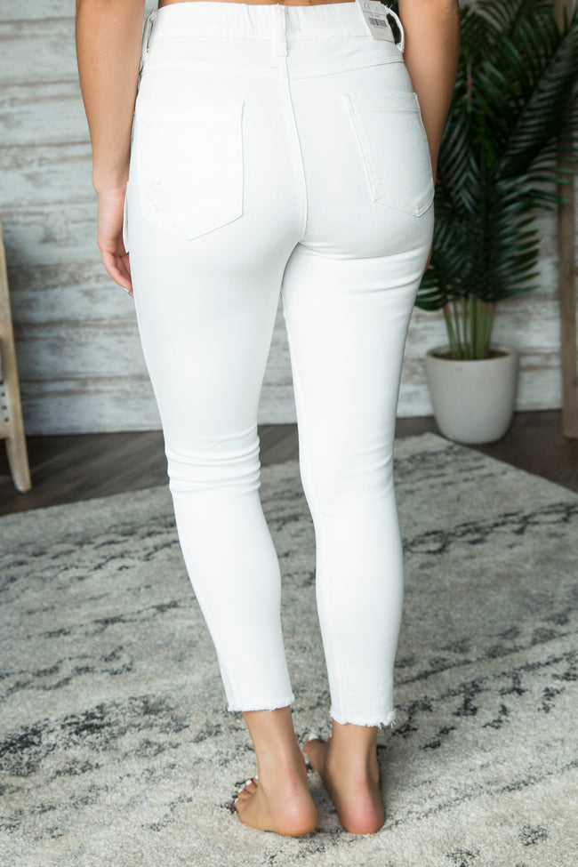 Grace and Lace White Zip Up Cropped Jeggings