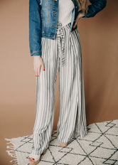 Saxon Side Slit Striped Pants
