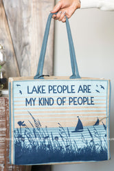 Lake People Burlap Tote