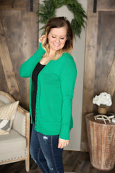 Curvy Ribbed Trim Snap Front Cardigan (Several Colors)