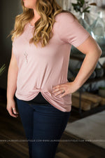 Curvy Solid Twist Tee (Several Colors)