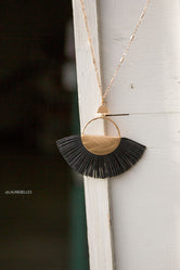 Fanned Leather Pendant Necklace